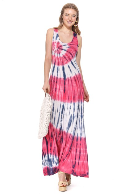 TIE DYE SLEEVELESS MAXI DRESS - orangeshine.com