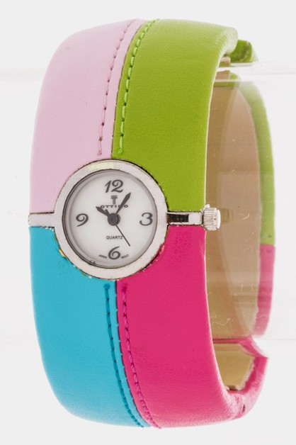Colorblock Bangle Watch - orangeshine.com
