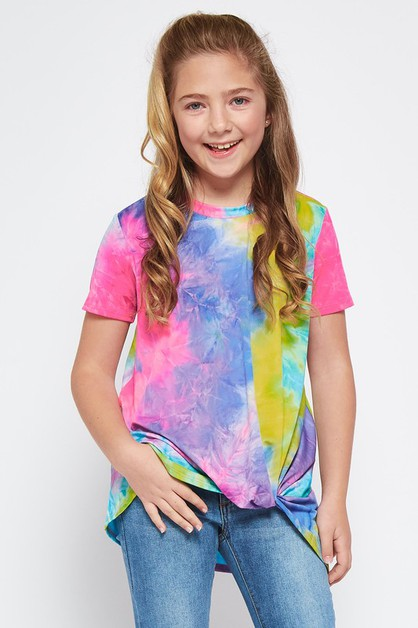 KIDS TIEDYE KNOT DETAIL TOP - orangeshine.com