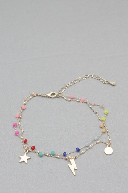 GLASS BEADS METAL CHAIN ANKLET - orangeshine.com