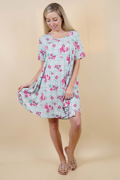 Blue Floral Dress - orangeshine.com