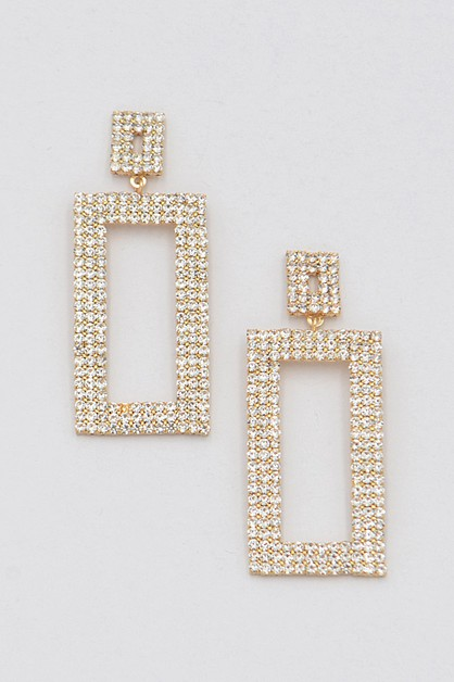 Open Cut Rhinestone Earrings - orangeshine.com