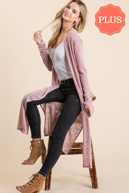 SOLID SLIT LONG OPEN CARDIGAN - orangeshine.com