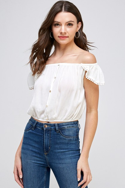Off Shoulder Button Top - orangeshine.com