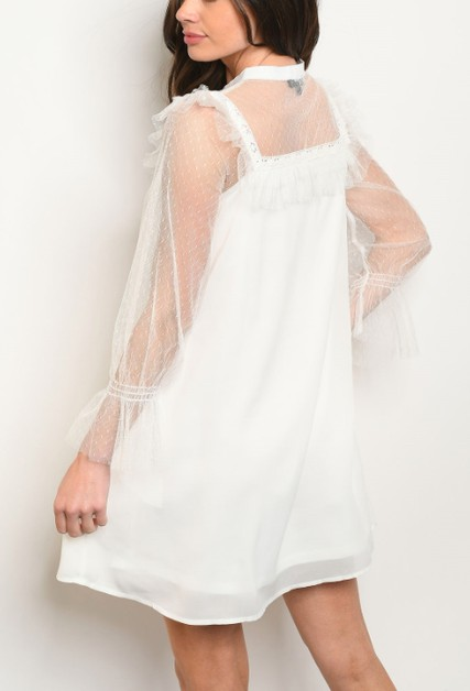 Long tulle mesh bell sleeve dress - orangeshine.com