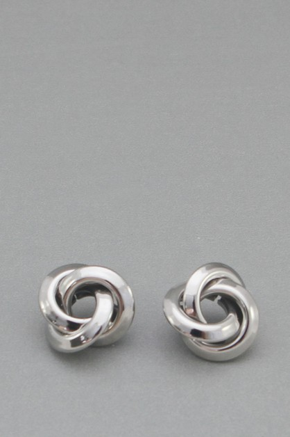 METAL KNOT POST EARRING  - orangeshine.com