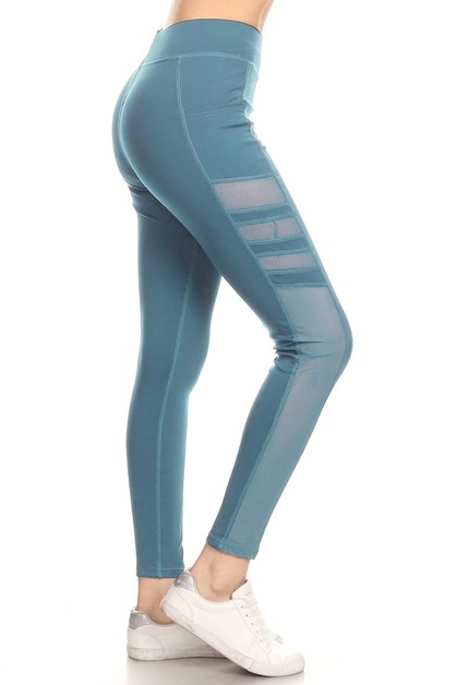 Mesh panel fashion yoga legging - orangeshine.com