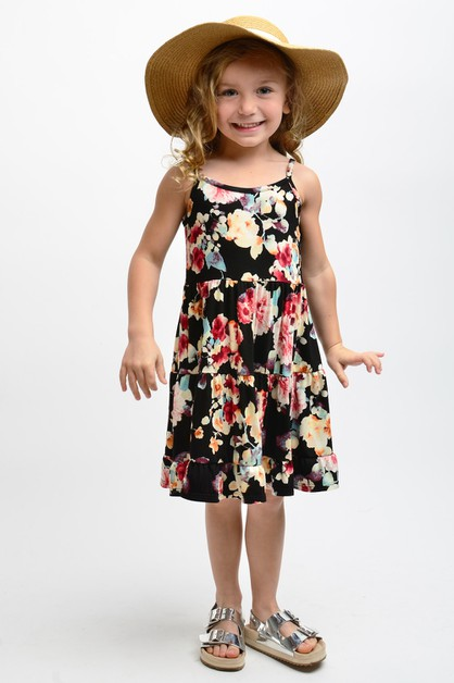 KIDS SLEEVELESS FLORAL RUFFLED DRESS - orangeshine.com