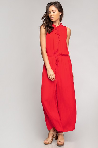 BUTTON DOWN JUMPSUIT WITH FRILL NECK - orangeshine.com