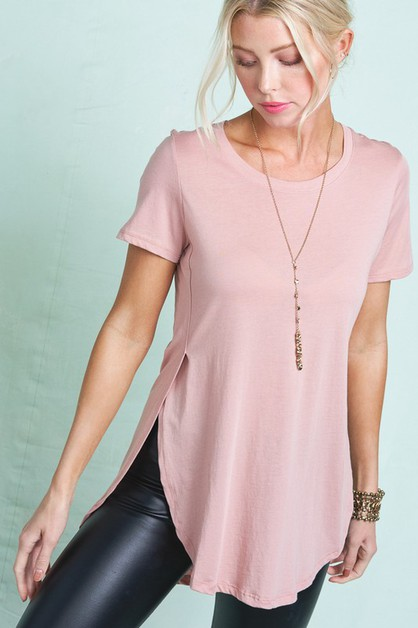 SPLIT SIDE DIP HEM TEE - orangeshine.com
