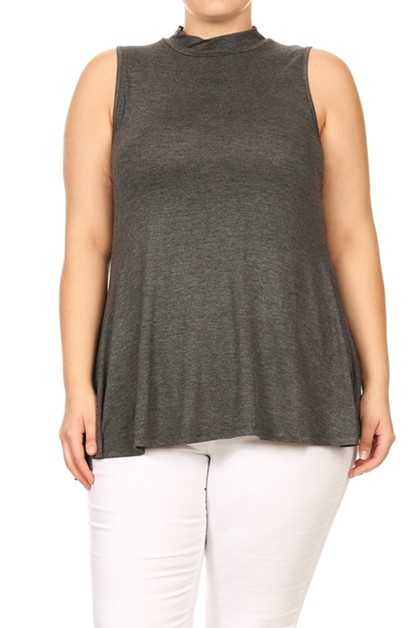 PLUS SIZE SLEEVELESS MOCK NECK TOP - orangeshine.com