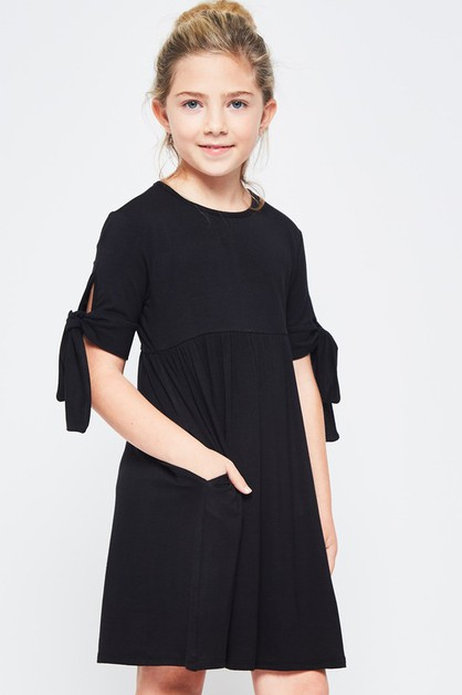 KIDS SIZE TIE SLEEVE MIDI DRESS - orangeshine.com