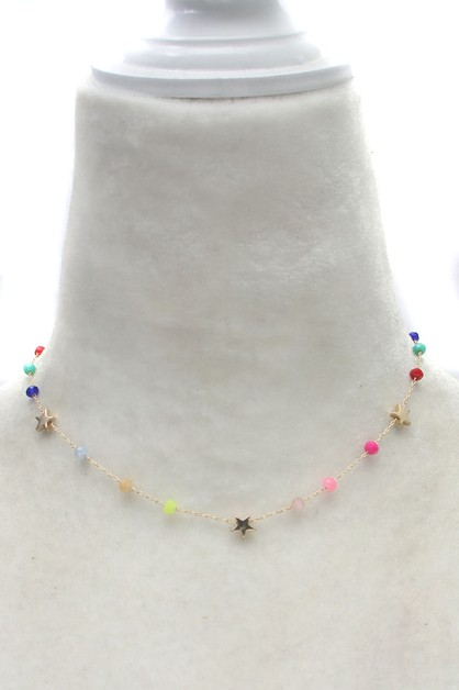 GLASS BEADS STAR NECKLACE  - orangeshine.com