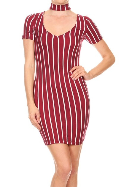 CHOKER DETAIL STRIPE BODYCON DRESS - orangeshine.com