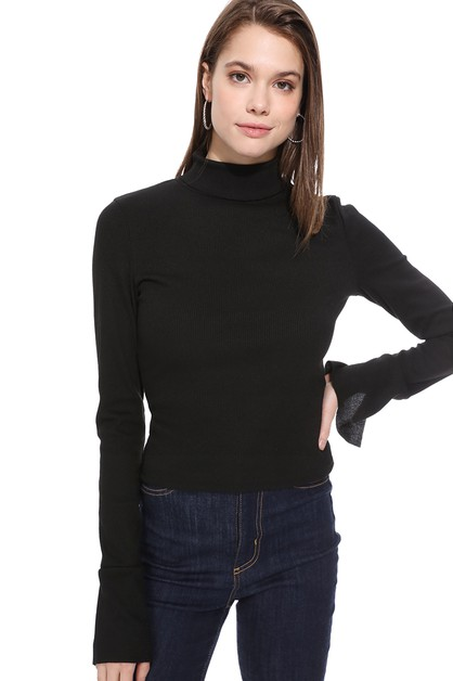 Solid Color High-collared Knit Top - orangeshine.com