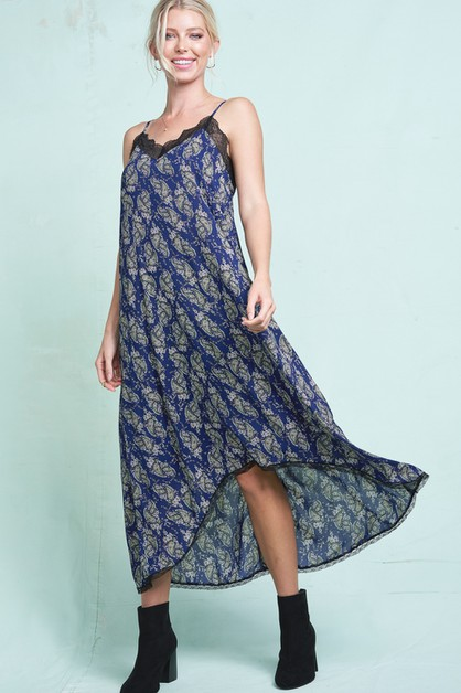 Paisley Print Maxi High Low Dress - orangeshine.com