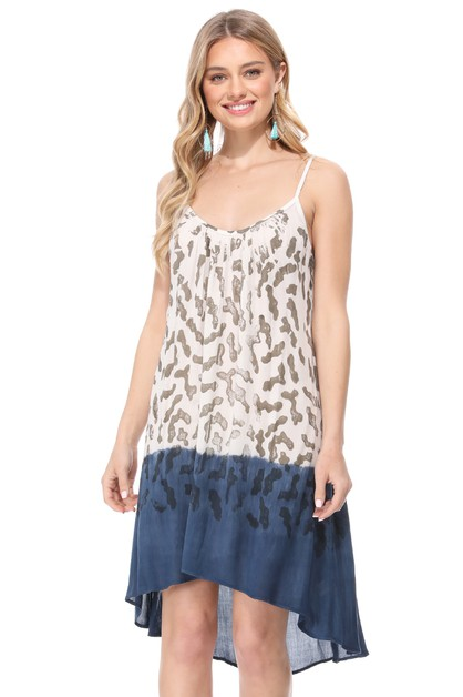 ANIMAL PRINT OMBRE SHORT FLOWY DRESS - orangeshine.com