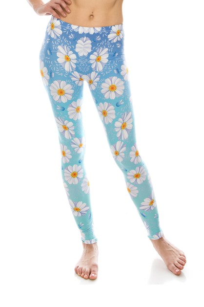 DAISY BLUE OMBRE Printed Leggings - orangeshine.com