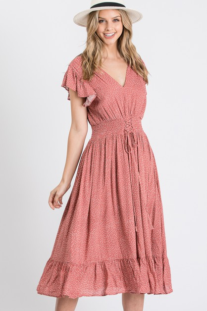 V Neck Polka Dot Flare Dress - orangeshine.com