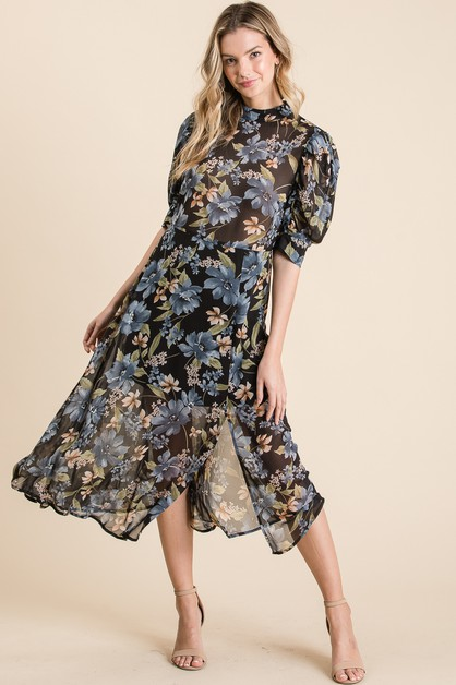 WOVEN FLORAL SLIT PUFF DRESS - orangeshine.com