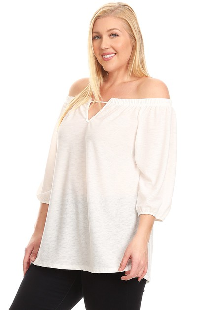 PLUS SIZE OFF-THE-SHOULDER TOP - orangeshine.com