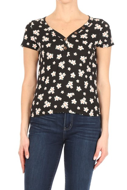 Black Floral Tops Tee Shirts - orangeshine.com