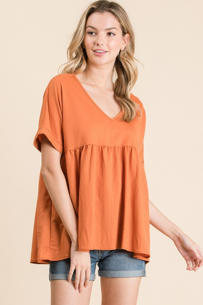 SHORT SLEEVE V-NECK SOLID TOP - orangeshine.com