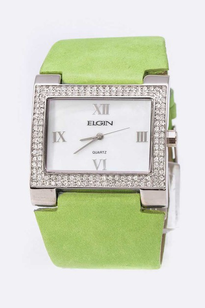 ELGIN Crystal Square Dial Fashion Wa - orangeshine.com