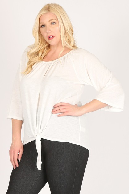 Plus size solid off shoulder top - orangeshine.com