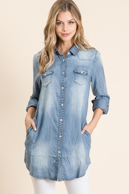 DENIM TUNIC BLOUSE - orangeshine.com