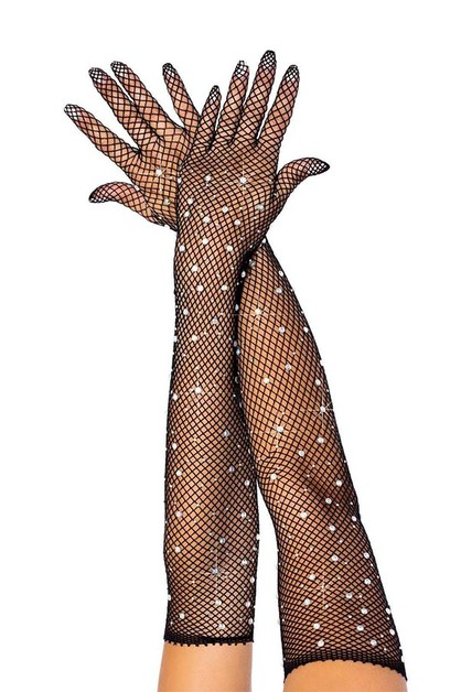 Rhinestone Fishnet Long Gloves - orangeshine.com