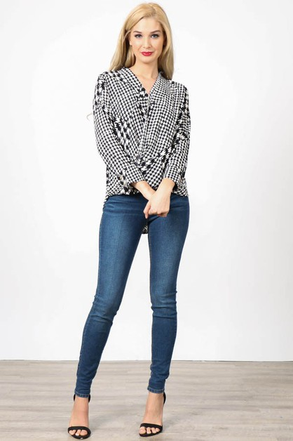 Houndstooth Print Crossover Top  - orangeshine.com