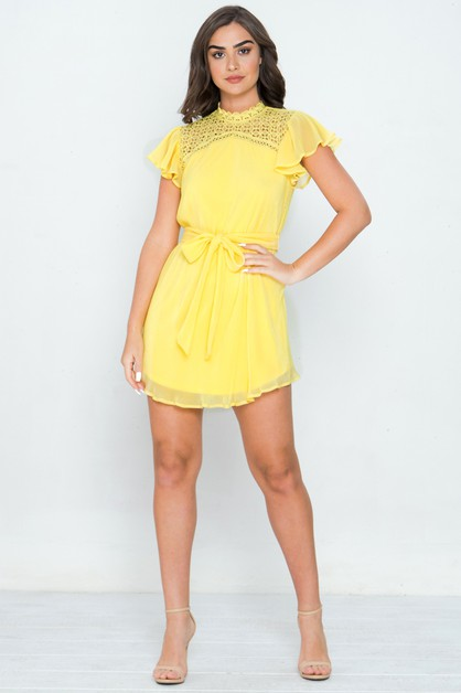 MINI DRESS W HIGH NECKLINE  - orangeshine.com
