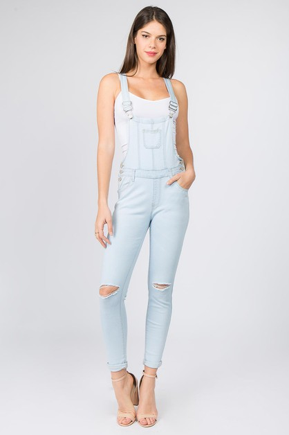 DISTRESSED DENIM OVERALLS KNEE SLIT - orangeshine.com