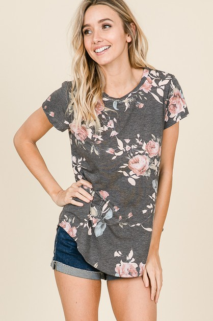 CASUAL SHORT SLEEVE FLORAL TOP - orangeshine.com