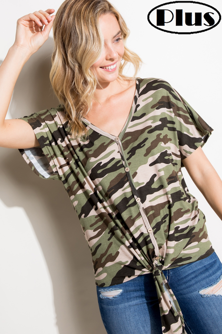 CAMOUFLAGE V NK BUTTON DOWN PLUS TOP - orangeshine.com