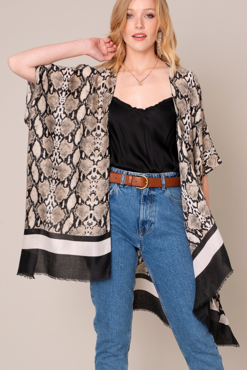 Python Print Kimono with Striped Hem - orangeshine.com