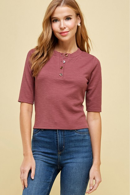 SHORT SLEEVE  KNIT TOP WITH BUTTONS - orangeshine.com