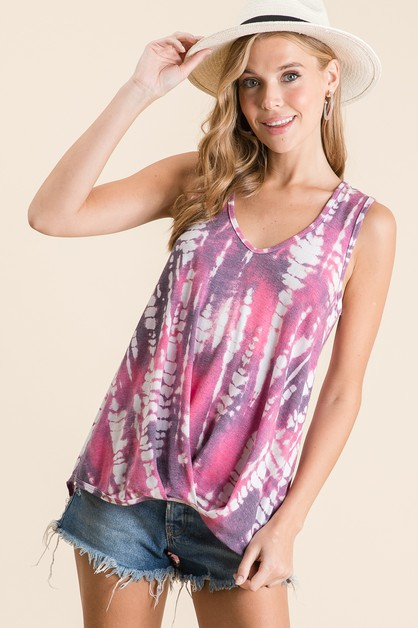 TIE-DYE GATHERED SLEEVELESS TOP - orangeshine.com