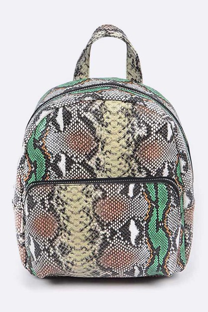 Iconic Snake Print Back Pack - orangeshine.com