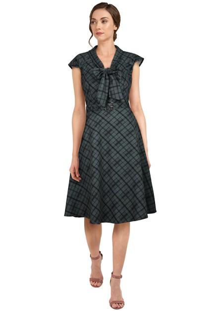 Plus Size Gray/Plaid Retro 1940s Dress - orangeshine.com
