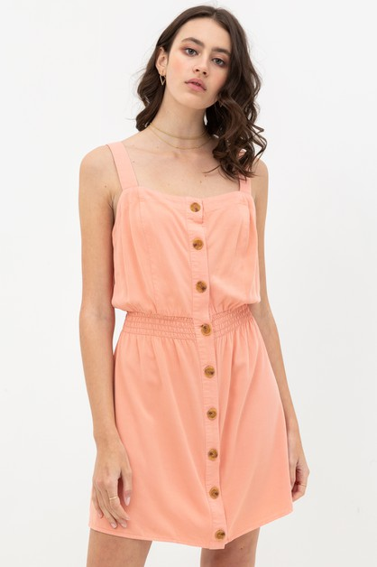 BUTTONED WAISTBAND DRESS - orangeshine.com