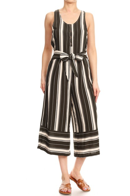 Stripes Boho Wide Leg Jumpsuits - orangeshine.com