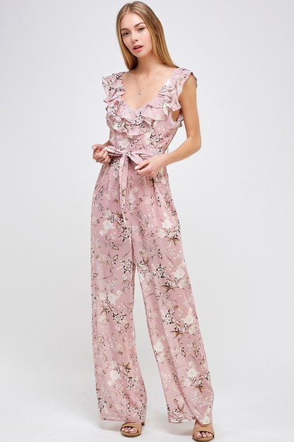 FLOWING FLORAL  V NECK JUMPSUIT - orangeshine.com