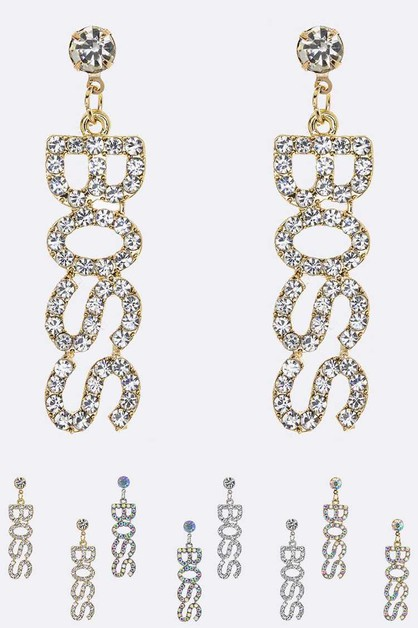 Crystal BOSS Iconic Earrings Set - orangeshine.com