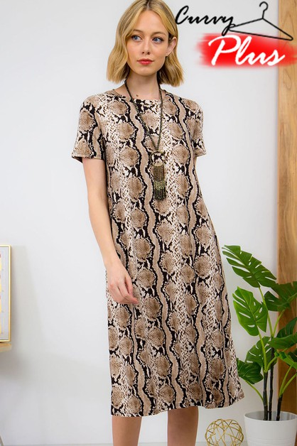 SNAKESKIN PRINT SWING DRESS - orangeshine.com