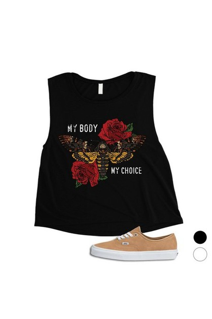 My Body My Choice Roses Crop Top - orangeshine.com
