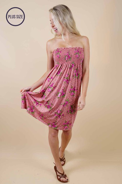 Plus Size Pink Floral Dress - orangeshine.com