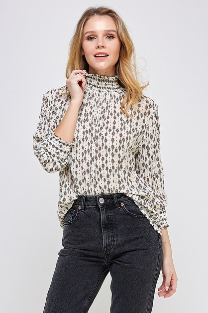 SMOCKED MOCK NECK PRINT BLOUSE - orangeshine.com