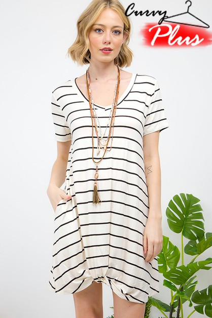 STRIPED V-NECK FRONT TIE DRESS - orangeshine.com